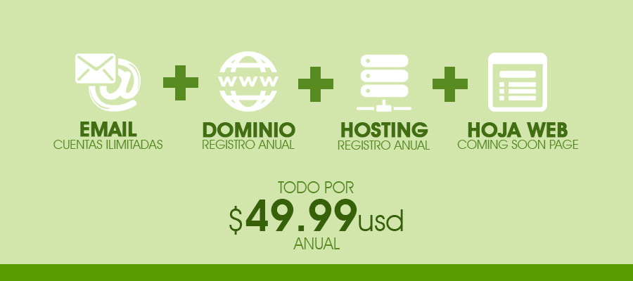 Email + Dominio + Hosting + Hoja Web por $49.99 usd